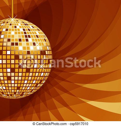 astratto, palla, fondo, oro, discoteca - csp5917010