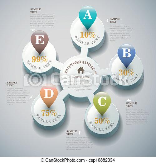 astratto, vettore, 3d, infographics - csp16882334
