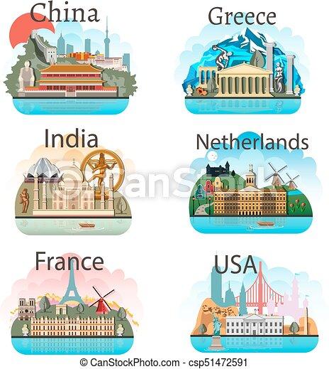 attrazioni, set, paesi - csp51472591