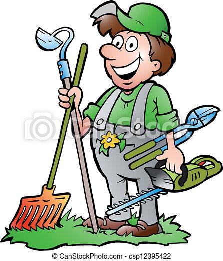 attrezzi, standing, giardiniere - csp12395422
