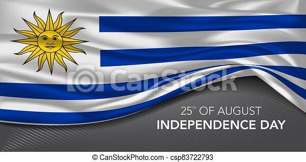augurio, testo, vettore, illustrazione, scheda, giorno indipendenza, bandiera, uruguay, sagoma - csp83722793