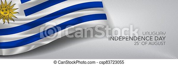 augurio, vettore, giorno indipendenza, bandiera, uruguay, card. - csp83723055