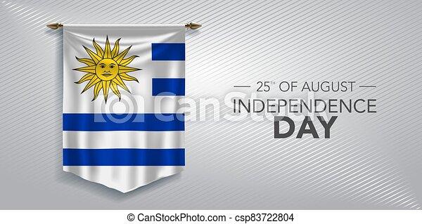 augurio, vettore, illustrazione, scheda, giorno indipendenza, bandiera, uruguay - csp83722804