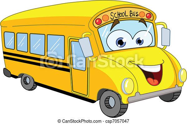 autobus, scuola, cartone animato - csp7057047