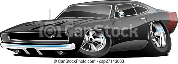 automobile, americano, muscolo, cartone animato, classico - csp27143683