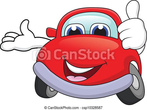 automobile, cartone animato, carattere, pollice - csp10328587