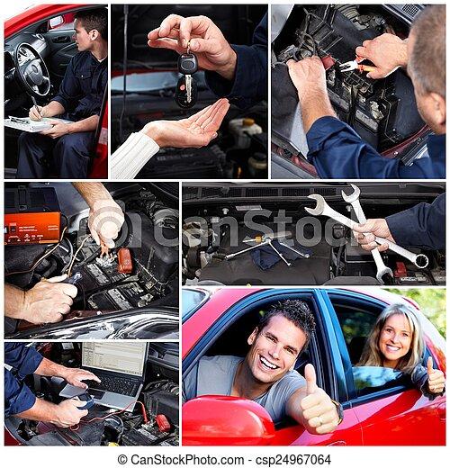 automobile, collage., riparazione - csp24967064