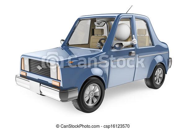 automobile, driver, su, pollice, persone., suo, 3d, bianco - csp16123570