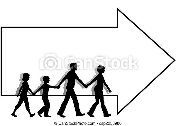 babbo, bambini, mamma, copyspace, passeggiata, =family, freccia, seguire - csp2258986