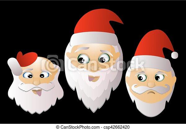 Sfondi Babbo Natale.Babbo Natale Tre Insieme Vettore Sfondo Nero Santa Klausy Insieme Tre Allegro Vettore Sfondo Nero Canstock