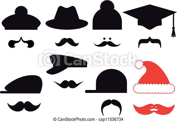 baffi, set, vettore, cappelli - csp11536734