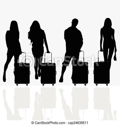 bagaglio, viaggiare, donna, illustrazione - csp34639511