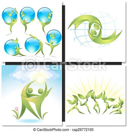 ballerini, verde, concetto, albero, eco-icon - csp29772193