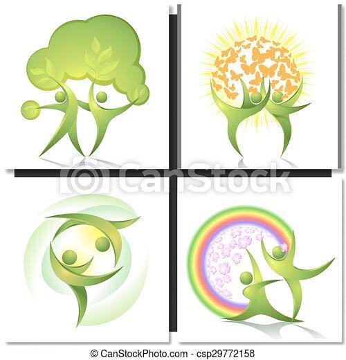 ballerini, verde, concetto, albero, eco-icon - csp29772158