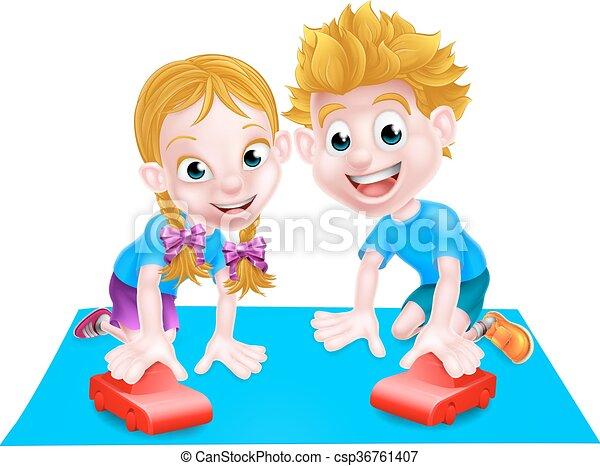 bambini giocando, automobili - csp36761407