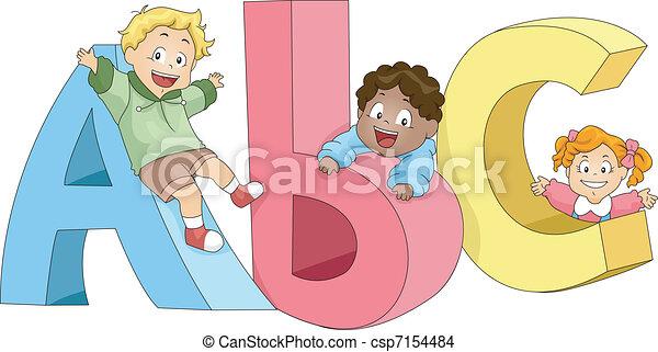 bambini, gioco, abc - csp7154484