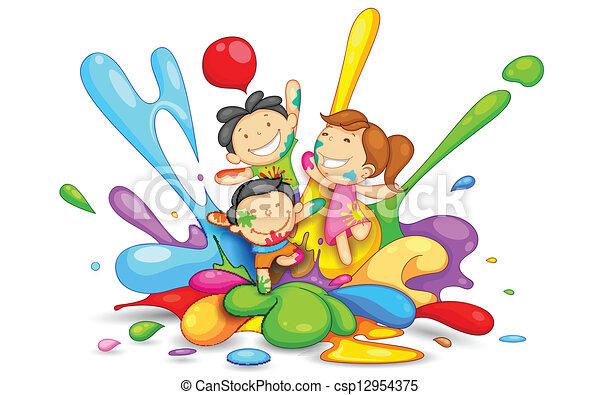 bambini, gioco, holi - csp12954375