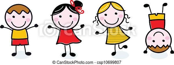 bambini, gruppo, scarabocchiare, isolato, bianco, felice - csp10699807