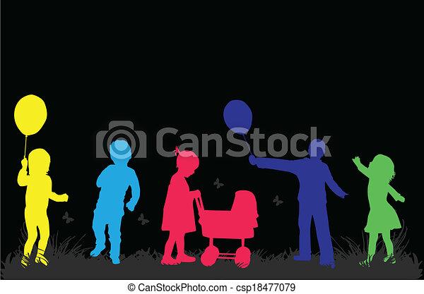 bambini, illustrazione, natura, vettore - csp18477079