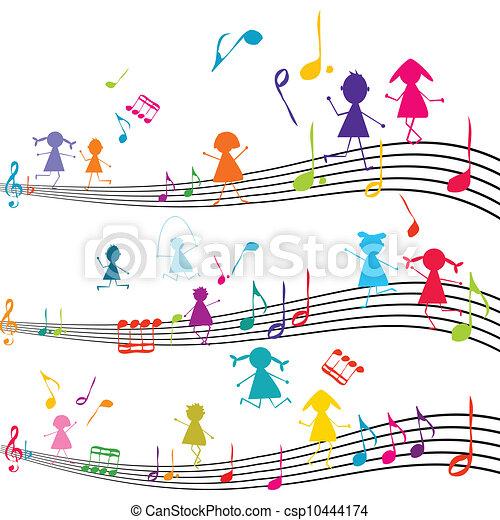 bambini, note, gioco, nota, musica, musicale - csp10444174