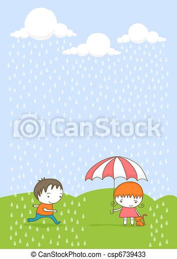 bambini, rain. - csp6739433