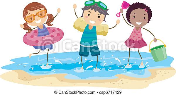 bambini, spiaggia, gioco - csp6717429