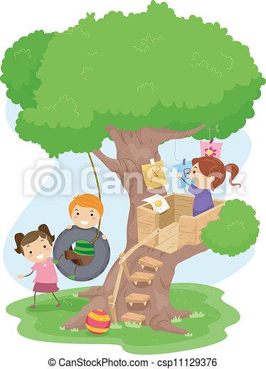 bambini, treehouse - csp11129376