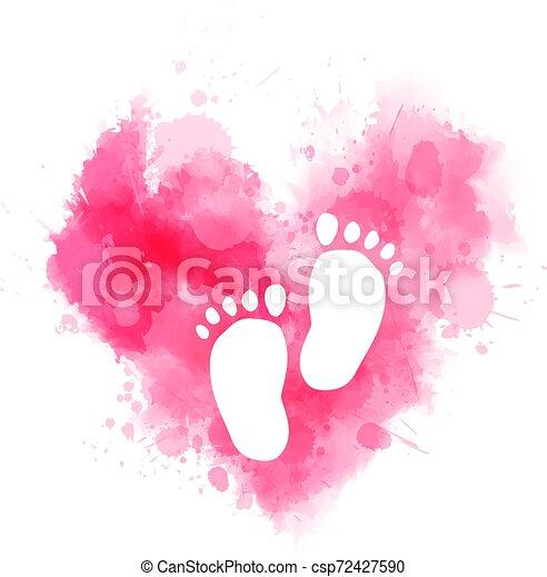 bambino, acquarello, cuore, ingombri, rosa - csp72427590