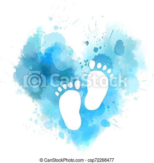 bambino, acquarello, cuore, ingombri, blu - csp72268477