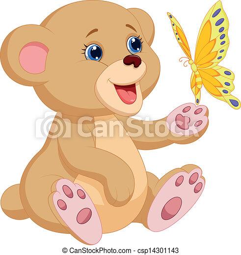 bambino, carino, gioco, orso, cartone animato - csp14301143