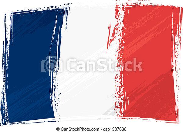 bandiera, grunge, francia - csp1387636