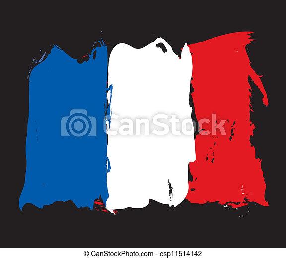 bandiera, grunge, francia - csp11514142