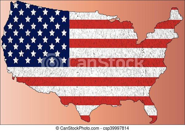 bandiera, mappa, america, stati, unito - csp39997814