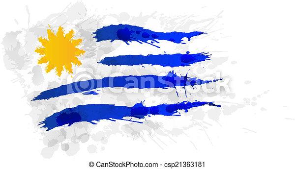 bandiera, uruguay, fatto, schizzi, colorito - csp21363181