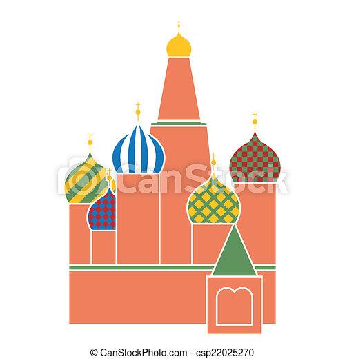 basilico, mosca, simbolo, quadrato, russia, -, santo, disegno, cattedrale, rosso, appartamento - csp22025270