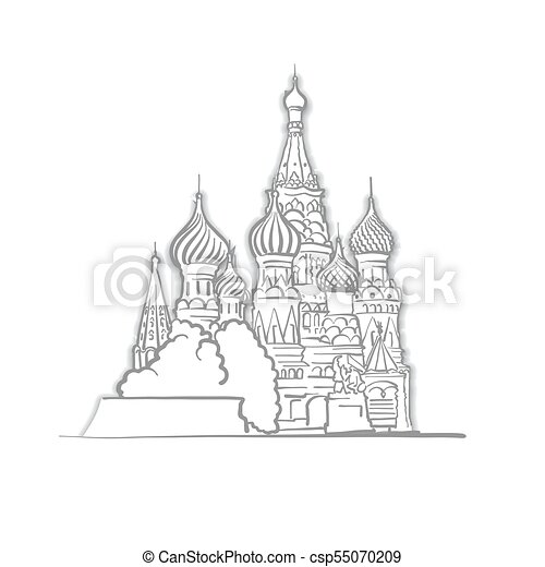 basils, cattedrale, mosca, santo, schizzo - csp55070209