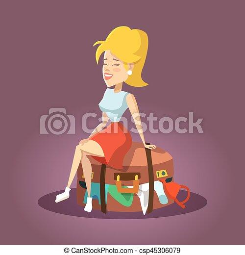 bella donna, turista, seduta, giovane, illustrazione, girl., vettore, inondato, suitcase., cartone animato - csp45306079