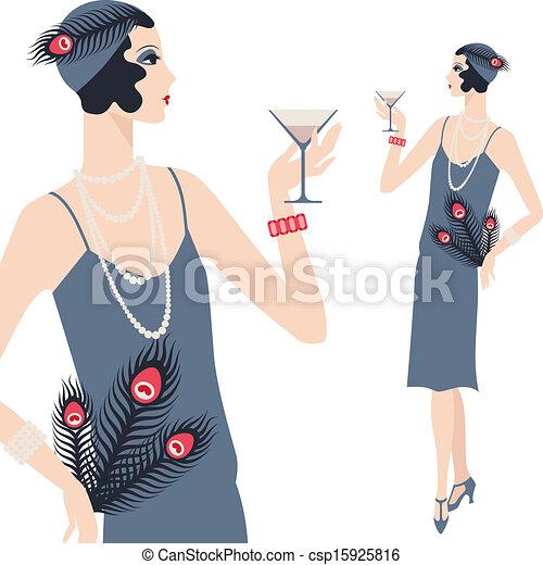 bello, 1920s, giovane, retro, ragazza, style. - csp15925816