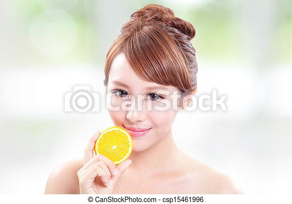 bello, arancia, donna, succoso, faccia - csp15461996