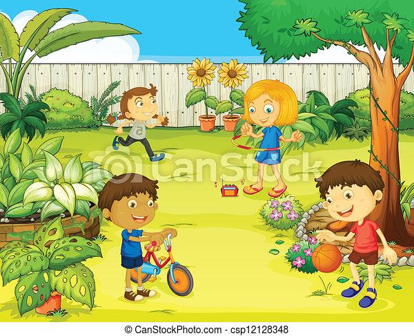 bello, bambini, gioco, natura - csp12128348