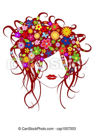 bello, capelli, ragazza, fiori - csp1007003