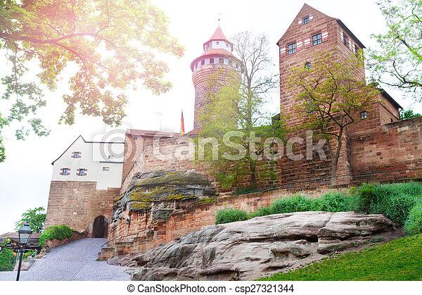 bello, kaiserburg, nuremberg, iarda, interno, vista - csp27321344