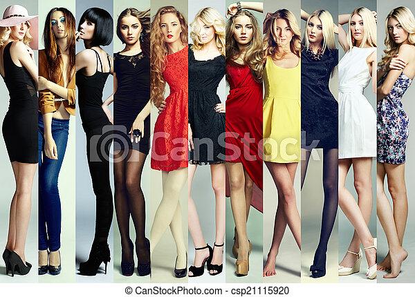bello, moda, gruppo, collage., giovani donne - csp21115920