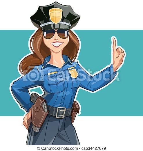 bello, ragazza, police-officer, uniforme - csp34427079