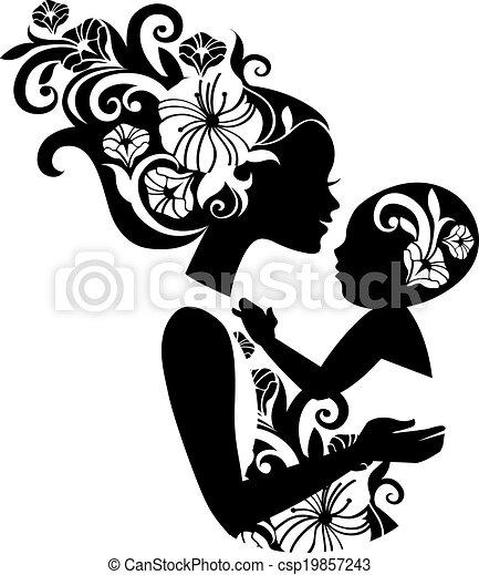 bello, sling., silhouette, illustrazione, bambino, madre, floreale - csp19857243