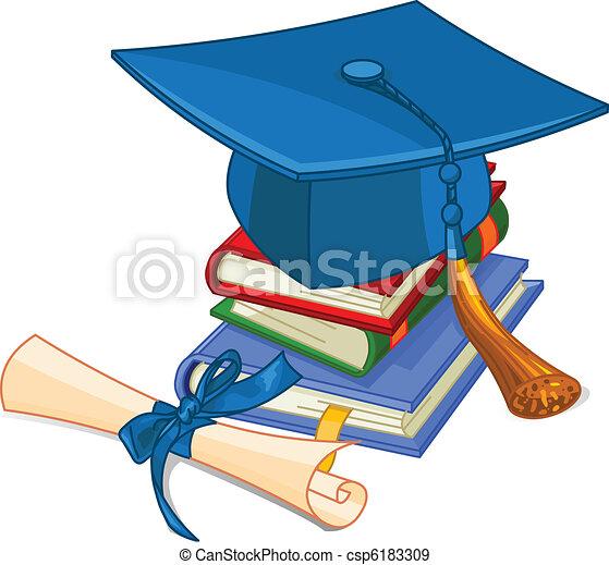 berretto, diploma, graduazione - csp6183309