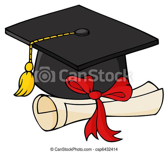 berretto, nero, diploma, laureato - csp6432414