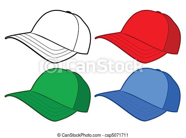 berretto, vettore, baseball, template. - csp5071711