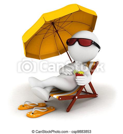 bianco, 3d, vacanza, persone - csp9883853