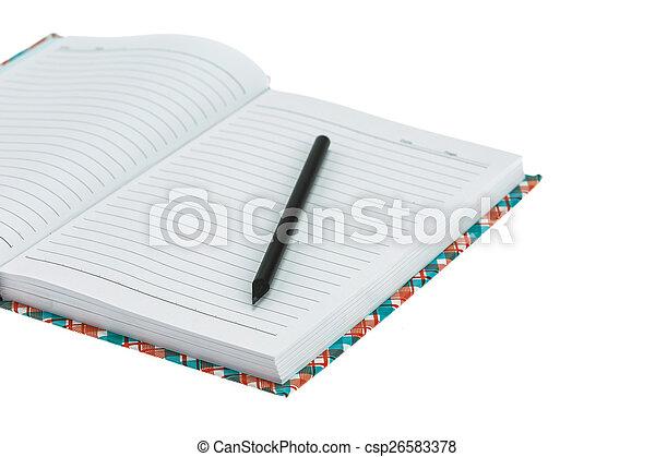 bianco, quaderno, isolato - csp26583378